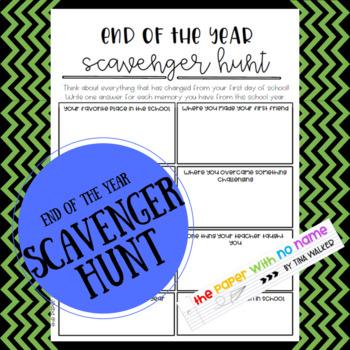 End of Year Scavenger Hunt Worksheet