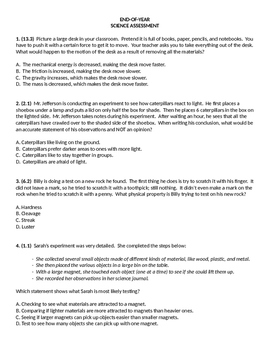 End of Year Science Assessment or Review