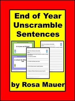 End of Year Sentences Unscramble
