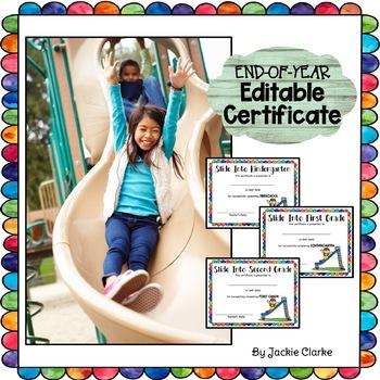 End of Year Slide Certificate for Kindergarten