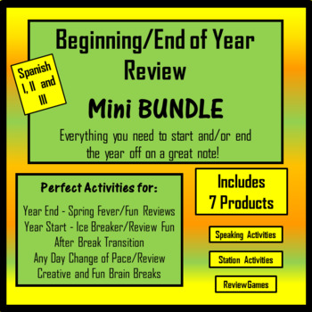 Beginning of Year Spanish Activity Review - MINI Bundle - Spanish I, II, III