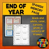 End of Year Spanish Memory Page
