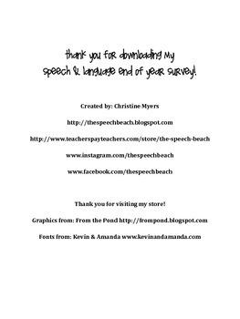 End of Year Speech & Language Survey FREEBIE!