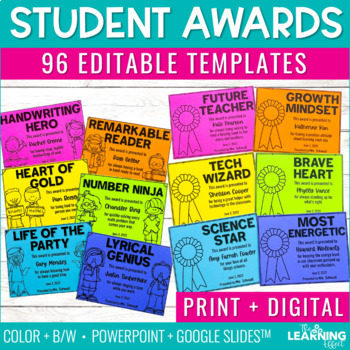 End of Year Student Awards - Editable Templates