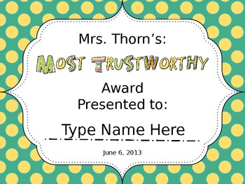 End of Year Student Awards-Blue/Yellows {Editable}