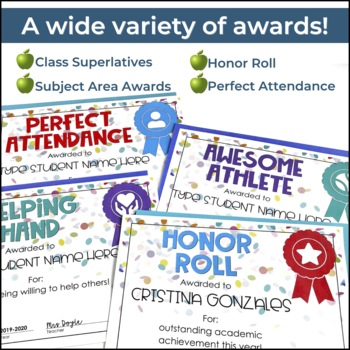 End of Year Student Awards Certificates - Fillable!