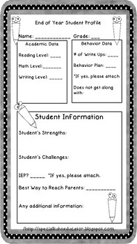 End of Year Student Data Sheets
