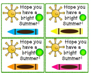 End of Year Student Gift Summer Tags