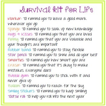 End of Year Student Gift- Survival Kit for Life