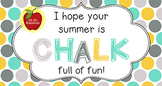 End of Year Student Gift Tag   Chalk