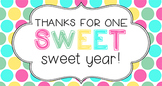 End of Year Student Gift Tag | One sweet, sweet year!