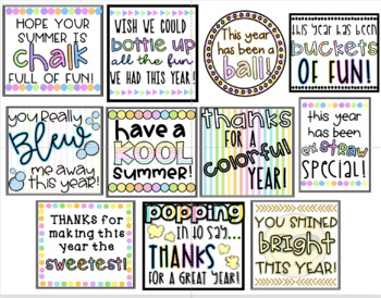 End of Year Student Gift Tags (Set of 11)