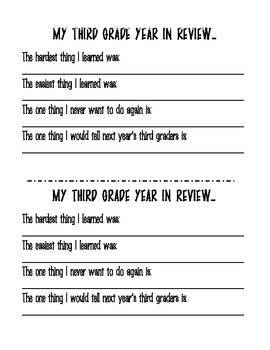 End of Year Student Memory Book for 3rd Grade