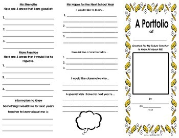 Beginning of Year -Student Portfolio Brochure