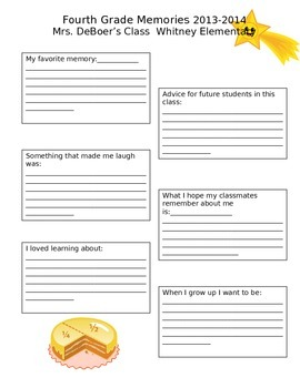 End of Year Student Questionnaire: Remembering our Year Together!