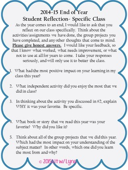End of Year Student Reflection
