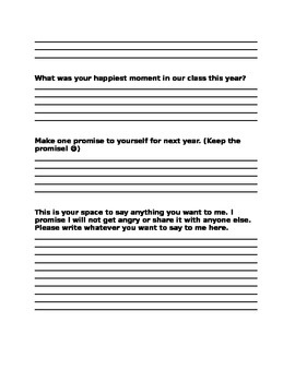 End of Year Student Reflection & Evaluation Form