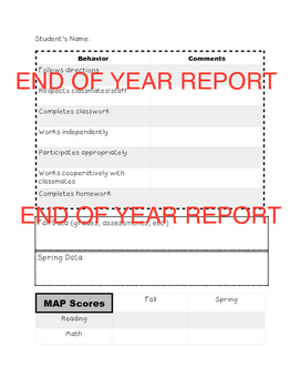 End of Year Student Report