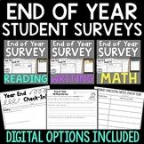 End of Year Student Surveys BUNDLE | Reading, Writing, Math
