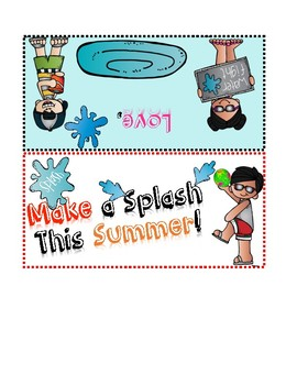 End of Year Student gift bag topper/ bag tag - Make a Splash this Summer!