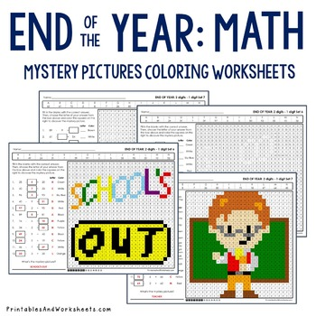 End of the Year Subtraction Coloring Worksheets