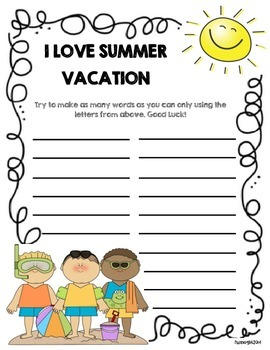 End of Year Summer Activity