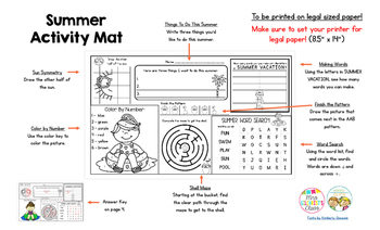 End of Year - Summer Activity Mat - A Page FULL Of Fun Summer Activities!