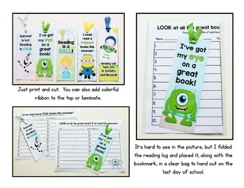 End of Year:  Summer Bookmarks and Matching Reading Logs FREEBIE