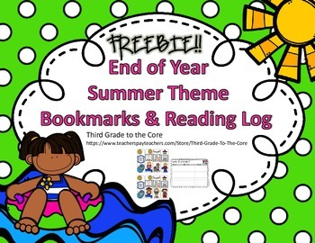 End of Year Summer Bookmarks and Reading Log FREEBIE