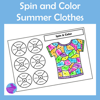 End of Year Summer Clothes Spin and Color by Number Activity ESY