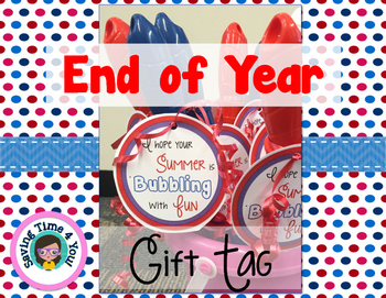 End of Year Summer Gift Tag FREEBIE
