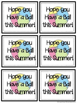 photo regarding Have a Ball This Summer Free Printable identified as Conclusion of the 12 months Reward Tags