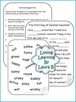 End of Year Summer Mad Lib Adjective Game
