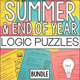 End of Year & Summer Math Logic Puzzles Bundle: Math Enrichment