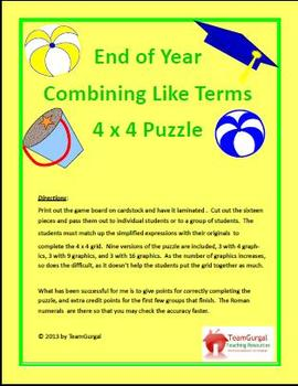 End of Year (Summer) Math Puzzle - Combining Like Terms