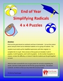 End of Year (Summer) Math Puzzle - Simplifying Radicals