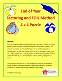 End of Year ( Summer ) Math Puzzles - Factoring and FOIL Method