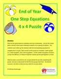 End of Year (Summer) Math Puzzles - One Step Equations