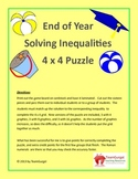 End of Year ( Summer ) Math Puzzles - Solving Inequalities