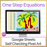 End of Year Summer Solving One Step Equations Pixel Art Activity