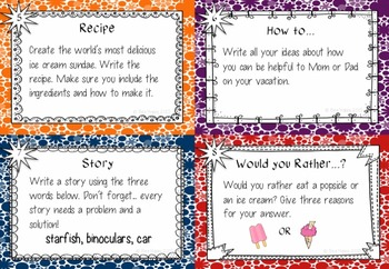 End of Year Writing Prompts and Graphic Organizers