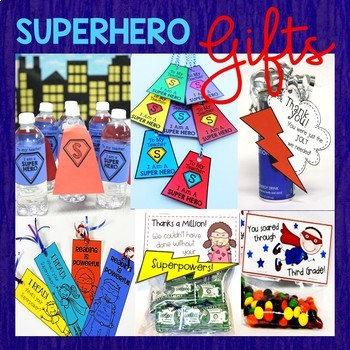 End of Year Awards (EDITABLE) Superhero Photo Booth, Class Cards & Gifts BUNDLE
