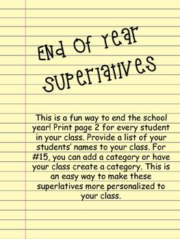 end of year superlatives by buckeyemath teachers pay teachers