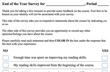 End of Year Survey/Evaluation -- Easy to Use and Interpret