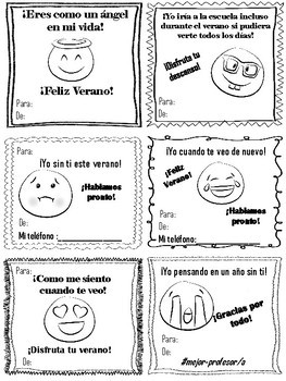 End of Year -Tarjetas de Alegria for Spanish class/Spanish speakers -