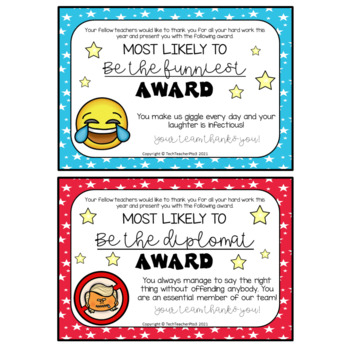 End of Year Teacher Awards have some fun with your teaching team