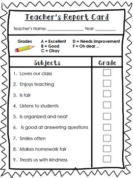 End of Year Teacher Report Card