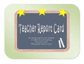 End of Year Teacher Report Card Activity - Student Reflection