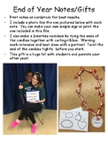 End of Year Teacher to Student Notes and Gift Idea