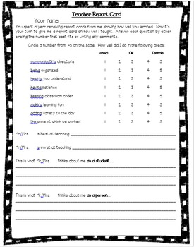 End of Year Teacher's Report Card
